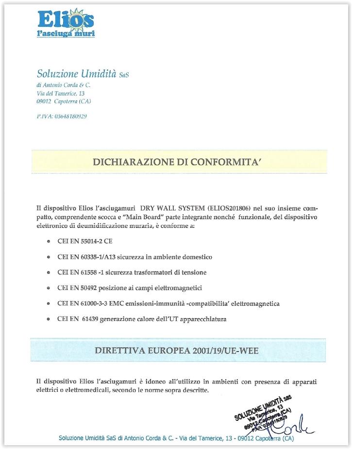 Certificazione Elios
